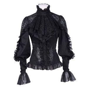 Tops - Victorian Lace Detachable Ruffle Collar Top